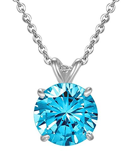 (Sterling Silver December Birthstone Necklace 16 inch 2 Carat Blue Zircon Necklace Anniversary Birthday Mother's Gift)