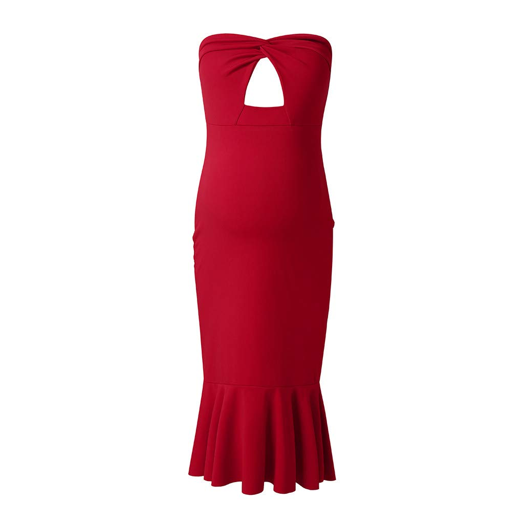 YESOT Deep V Neck Dresses Women Maternity Strapless Solid Color Bodycon Midi Dresses Ruffle Clothes