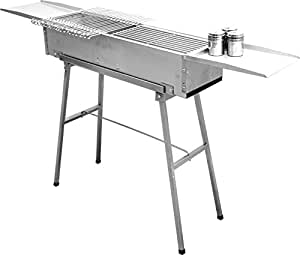 "32"" deluxe stainless charcoal kebab grill – 9 inch wide with 20 stainless skewers"