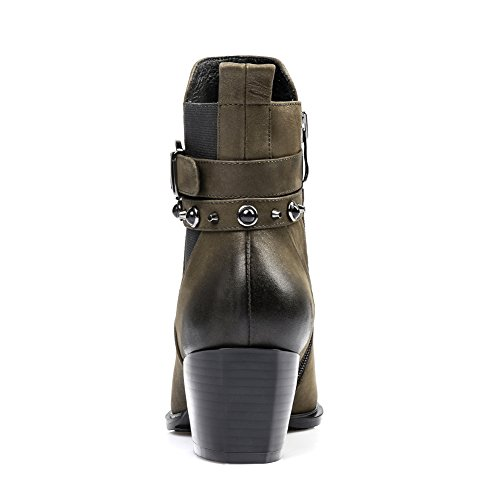 Honeystore Womens Rivet Belt Buckle Strap Leather Booties Pointed Toe Martin Boots Army Green m4G9eZf5
