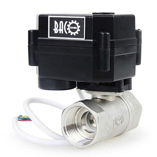 """BACOENG 3/4"""" DN20 Stainless Steel NPT 2 Port Motorized Valve (AC/DC9-24V CR04 Two Wires Spring Return When Power Off Electric Ball Valve)"""