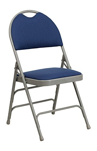 Flash Furniture HERCULES Series Ultra-Premium Triple Braced Navy Fabric Metal Folding Chair with Easy-Carry (Fabric Metal Folding Chair)