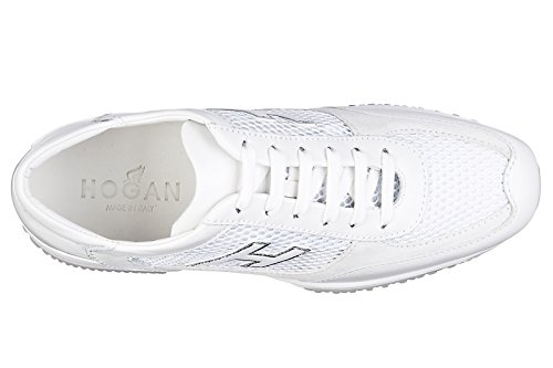 Hogan scarpe sneakers donna in pelle nuove interactive h flock bianco