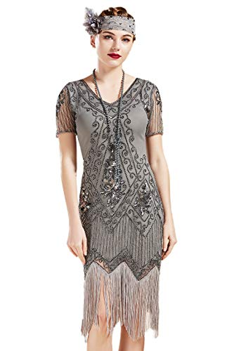 BABEYOND 1920s Art Deco Fringed Sequin Dress 20s Flapper Gatsby Costume Dress (Gray, -