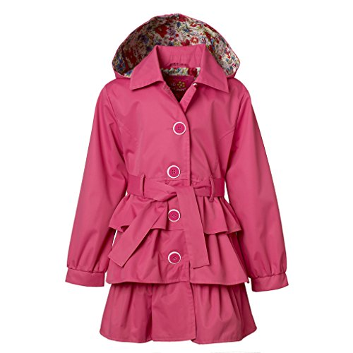 Belted Satin Trench Coat (Pink Platinum Girls Trench Coat – Floral Print Accents, Belted, Ruffled Bottom)