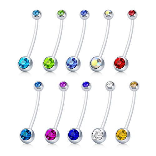 (JFORYOU 10PCS 14G Acrylic Bioflex Pregnancy Belly Button Rings-Extra Long Navel Barbell Body Jewelry Piercing Retainer)
