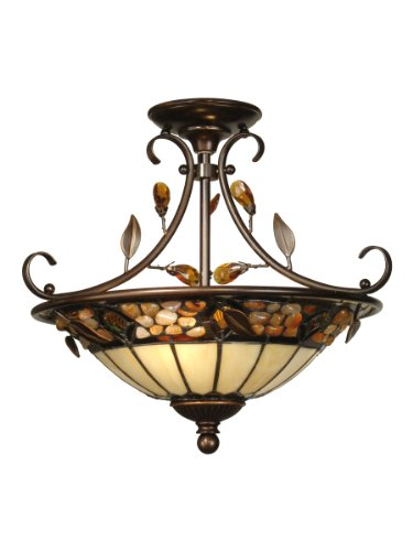 Dale Tiffany TH90218 Pebblestone Ceiling Light, Antique Golden Sand and Art Glass Shade