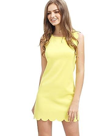 SheIn Women's Scalloped Trim Sleeveless Tank Dress Medium