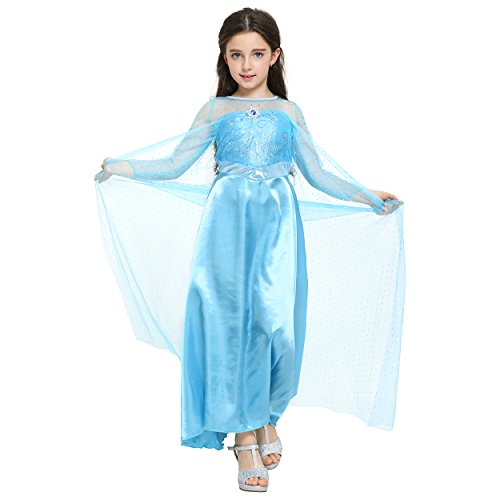 Fancy Elsa, Cinderella Dresses for girls inspired by Frozen (6-7 years, Blue - Elsa dress with diamond)