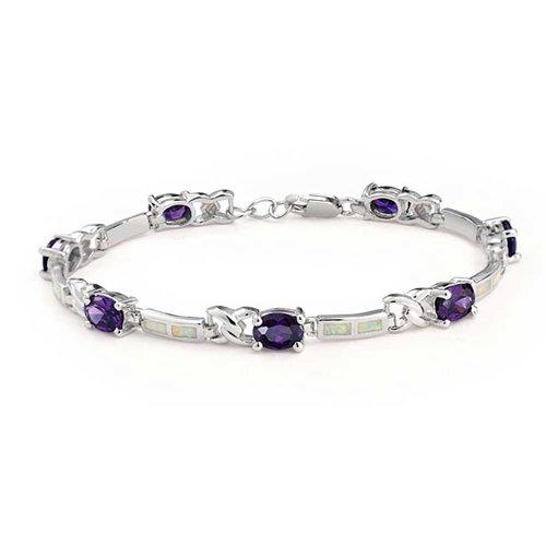 White Created Opal Purple Cubic Zirconia CZ Infinity Link Bracelet For Women Girlfriend 925 Silver October -