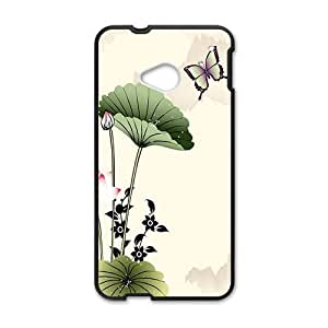 Classic ink painting elegant lotus Phone Case for HTC One M7 wangjiang maoyi