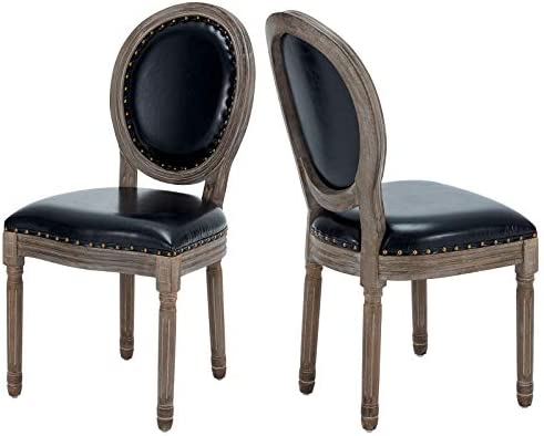 AVAWING Farmhouse Leather Dining Room Chairs 2 PCS