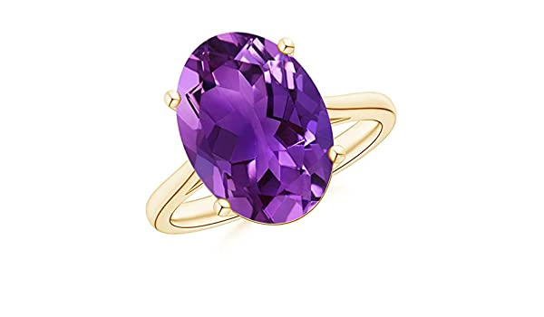 Angara Classic Oval Amethyst Solitaire Ring With Petal Motifs