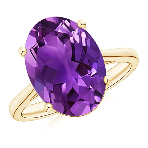 Angara Classic Oval Amethyst Solitaire Ring With Petal Motifs in Yellow Gold 1yLIUhE7Bm