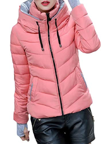 Short Pocketed XINHEO up Thick Down Stand Pattern4 Coat Collar Women Skinny Zip gwpUY