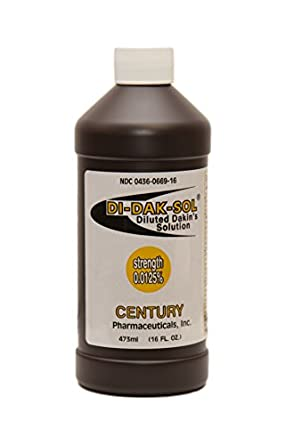 Di-Dak-Sol (Diluted Dakin's Solution) 304360669168 Sodium Hypochlorite 0.0125 % Wound Therapy for Acute and Chronic Wounds by Century Pharmaceuticals