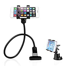 BESTEK 2-in-1 Gooseneck Flexible Cell Phone Clip Holder Stand Support 360-degree Roating for Bed, Car, Desktop with Car Vehicle Windshield Suction Cup Mount for iPhone 6 plus/6/5s/5/4S/4,Samsung Galaxy, HTC, Nokia, LG GPS Devices