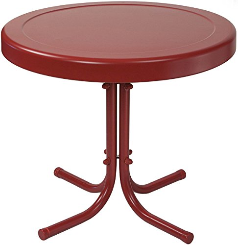 "Crosley Furniture Gracie Retro 20-inch Metal Outdoor Side Table - Coral Red - 20""W x 20""D x 19.5""H Sturdy Steel Construction Non-Toxic Powder Coated Finish - patio-tables, patio-furniture, patio - 41TPOe5TbzL -"