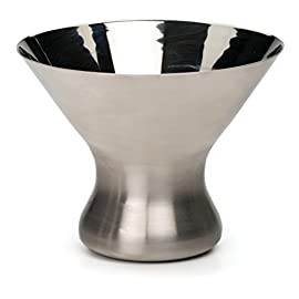 RSVP Endurance 18/8 Stainless Steel 8 Ounce Stemless Martini Glass 19 18/8 stainless steel with brushed exterior and polished interior Stable base and contemporary shape Perfect addition to the home bar