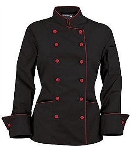 Long Sleeves Women's Ladies Chef's Coat Jackets with Contrast Buttons (M (To Fit Bust 36-37), Black (Red Trim))