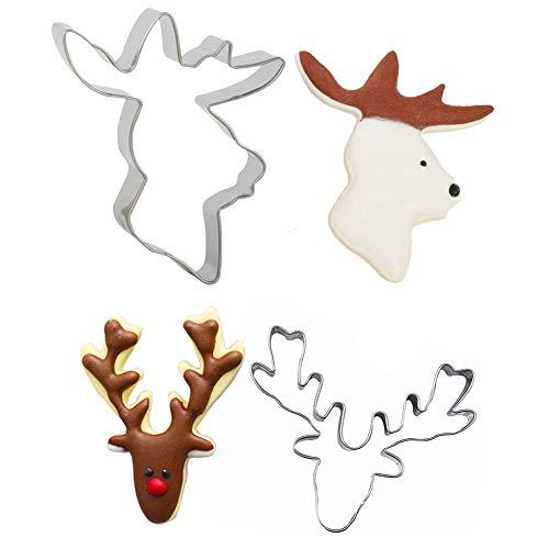 - Christmas Deer Head Reindeer Mould Stainless Steel Cookie Cutter