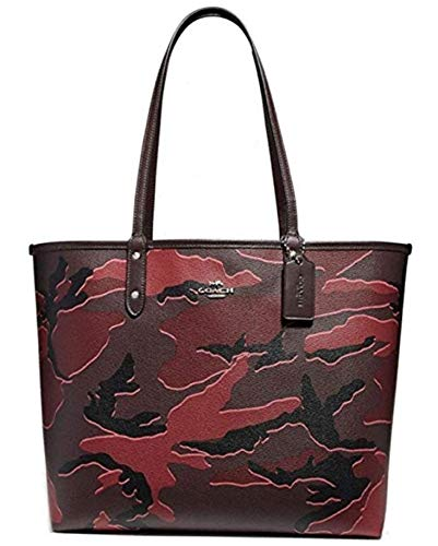 (COACH REVERSIBLE CITY TOTE WITH WILD CAMO PRINT BURGUNDY MULTI/SILVER )