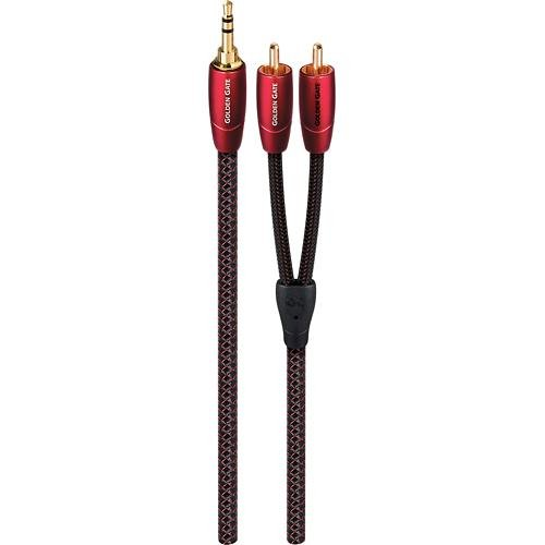 AudioQuest Golden Gate 2' 3.5mm-to-RCA Audio Cable Black/Red GOLDG0.6MR