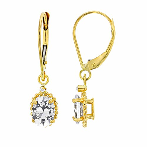 10K Yellow Gold 1.25mm Round & 6x4mm Oval Created White Sapphire Bead Frame Drop Leverback Earring Carats Ruby Sapphire Beads