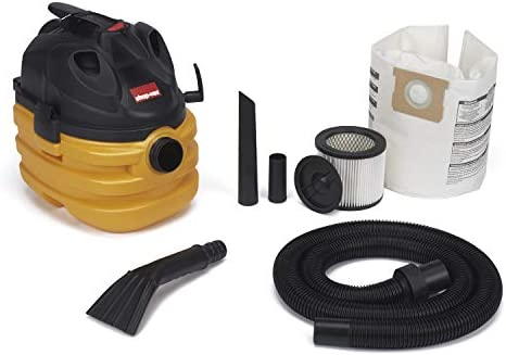 Shop-Vac 5872800 5 gallon 6.0 Peak HP Portable Heavy Duty Wet Dry Vacuum Yellow Black Tool Cord Storage Dual Filtration Uses Type AA Cartridge Filter Type E Filter Bag