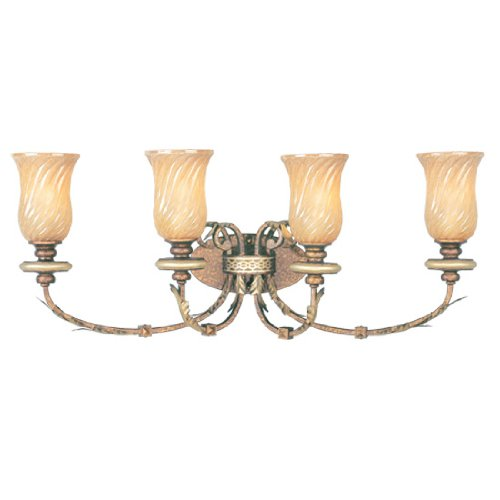 Livex Lighting 8874-64 Bath Vanity with Gold Dusted Sculpted Art Glass Shades, Palatial Bronze with Gilded Accents