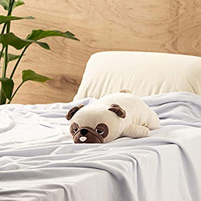 LivHeart Premium Nemu Nemu Sleepy head Animals Body Pillow Beige Plush Dog Pug 'Hana' size M (22