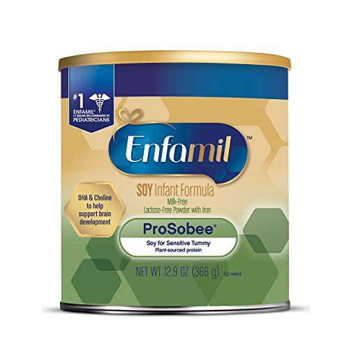 Enfamil ProSobee Soy Sensitive Tummy Baby Formula Dairy-Free Lactose-Free Milk-Free Plant Protein Powder 12.9 oz. Omega 3 DHA & Iron, Immune & Brain Support