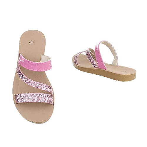 Ital-Design Women's Sandals Flat Mules at Pink fIRPnNNK
