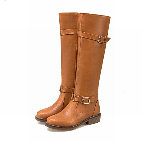 Latasa Mujeres Buckle And Strap Chunky Heels Tall Botas Amarillo Oscuro