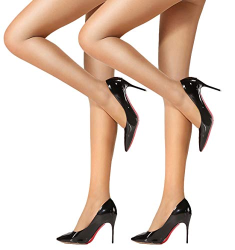 HONENNA Women's 40 Den Silky Sheer Reinforced T Crotch Pantyhose Tights (Medium, Nude, 2 Pairs) ()