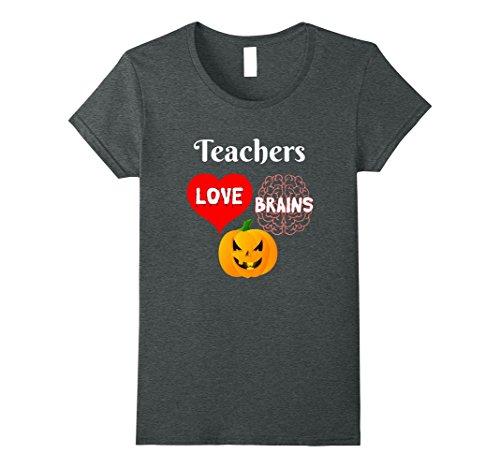 Womens Teachers Love Brains Scary Halloween Gift for Teachers XL Dark Heather