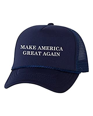 Mashed Clothing Make America Great Again Donald Trump President 2016 Trucker Cap Hat (Navy)