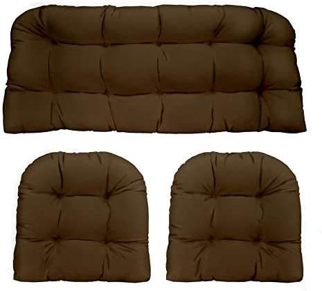 RSH DECOR Indoor Outdoor 3- Piece Large Tufted Wicker Cushion Set Made with Solid Chocolate Brown Fabric