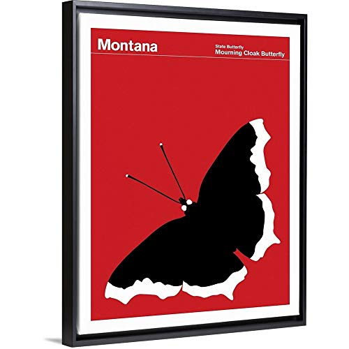 - State Posters - Montana State Butterfly: Mourning Cloak Butterfly Black Floating Frame Canvas A.