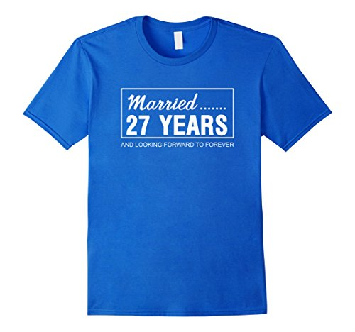 Mens 27th Wedding Anniversary Gifts for Him Her Couples T-Shirt 3XL Royal Blue