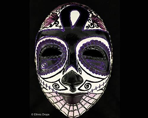 Venetian skull mask, Day of the Dead, dia de los Muertos, Costume Mask, masquerade ball, skull mask, sugar skull, full face mask, Dead Purple Black, ethnic drops mask