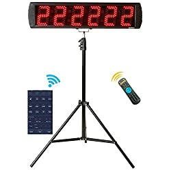 GAN XIN App-Control 5'' High 6 Digits LED Race Clock Timer with Tripod for Running Events, Countdown/up Digital Timer, 12/24-Hour Real Time Clock, Stopwatch by Remote Control