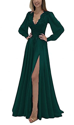 Emerald Dresses Prom Chiffon Neck 2018 Gowns Backless DKBridal with Sleeve V Lace Long Slit Applique Evening PRqnwxTUp
