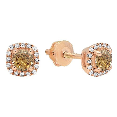 Dazzlingrock Collection 10K 3.5 MM Each Round Champagne & White Diamond Ladies Halo Style Stud Earrings (Champagne Diamond), Rose Gold