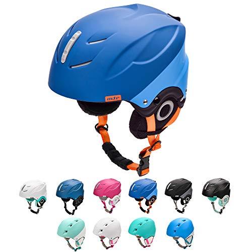 meteor Casque de Ski Snowboard Sport Helmet Homme Femme avec Ceinture Ajustées d'hiver Fentes d'Aération Mentonnière Rembourrée Clip à Masque de Ski