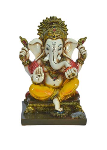 - Lightahead The Blessing. A Colored Statue of Lord Ganesh Ganpati Elephant Hindu God Sitting on Seat Made from Marble Powder in India