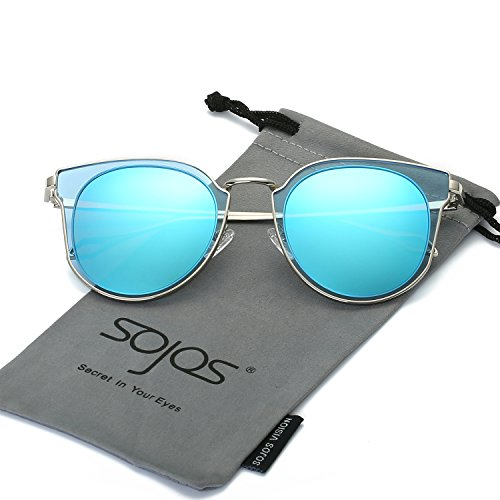 (SojoS Fashion Polarized Sunglasses for Women UV400 Mirrored Lens SJ1057 With Silver Frame/Blue Mirrored Lens)