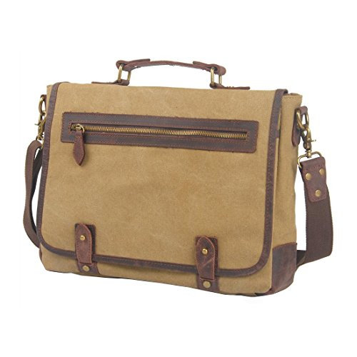 VRIKOO Unisex Vintage Canvas Genuine Leather Shoulder Messenger Bag Laptop Briefcase Caqui