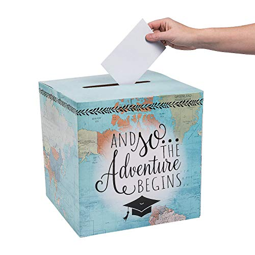 Graduation Card Box Holder (Says And So The Adventure Begins) Graduation Party Supplies]()