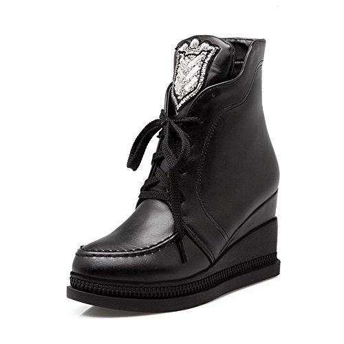 AgooLar Black Closed Top Boots High Material Toe Round Solid Heels Low Women's Soft 7wpqrHxC7